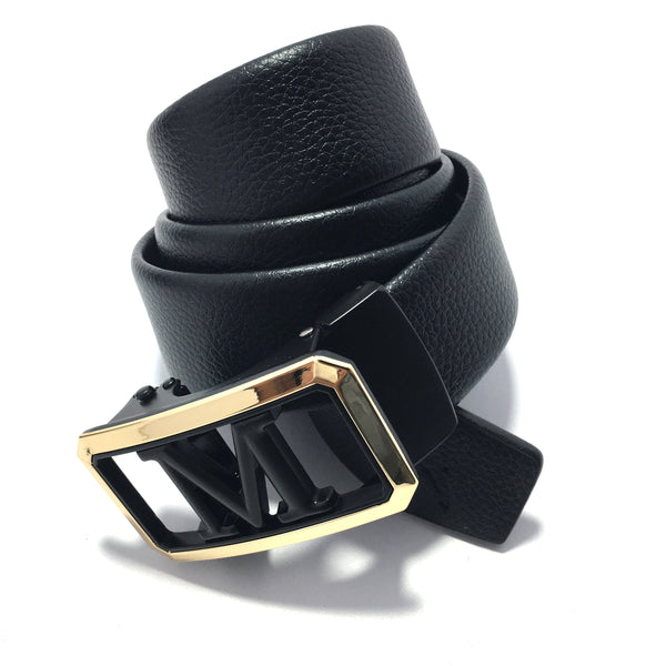 Ficuster Men Autogrip Metal Buckle Black Textured M Letter Vegan Leather Belt