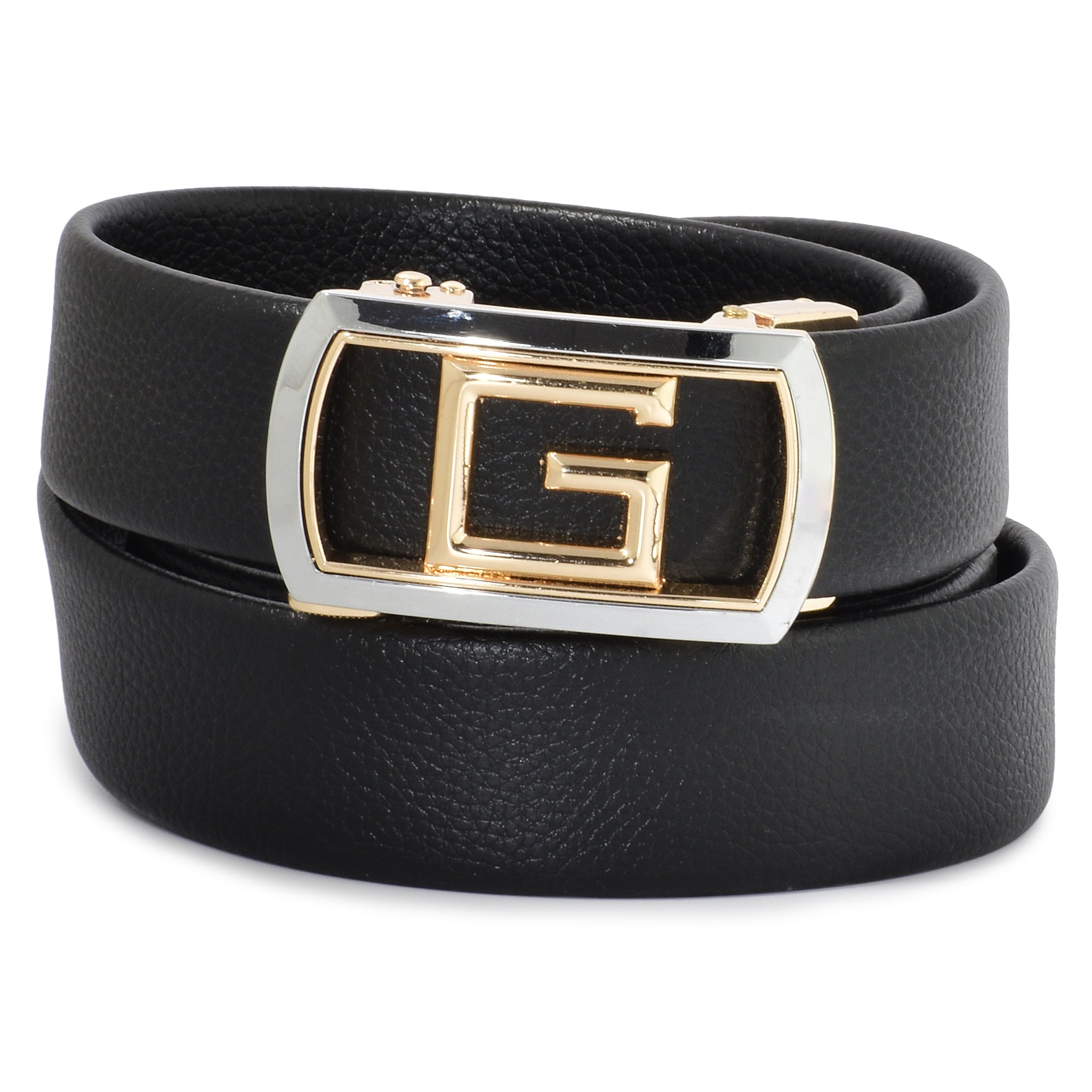 Ficuster Men Autogrip Metal Buckle Black Textured G Letter Vegan Leather Belt