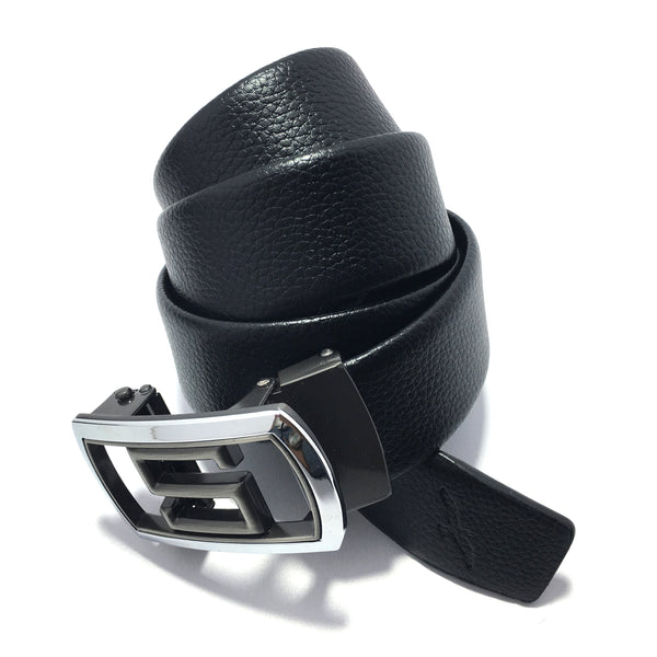 Ficuster Men Autogrip Metal Buckle Black Textured S Letter Vegan Leather Belt