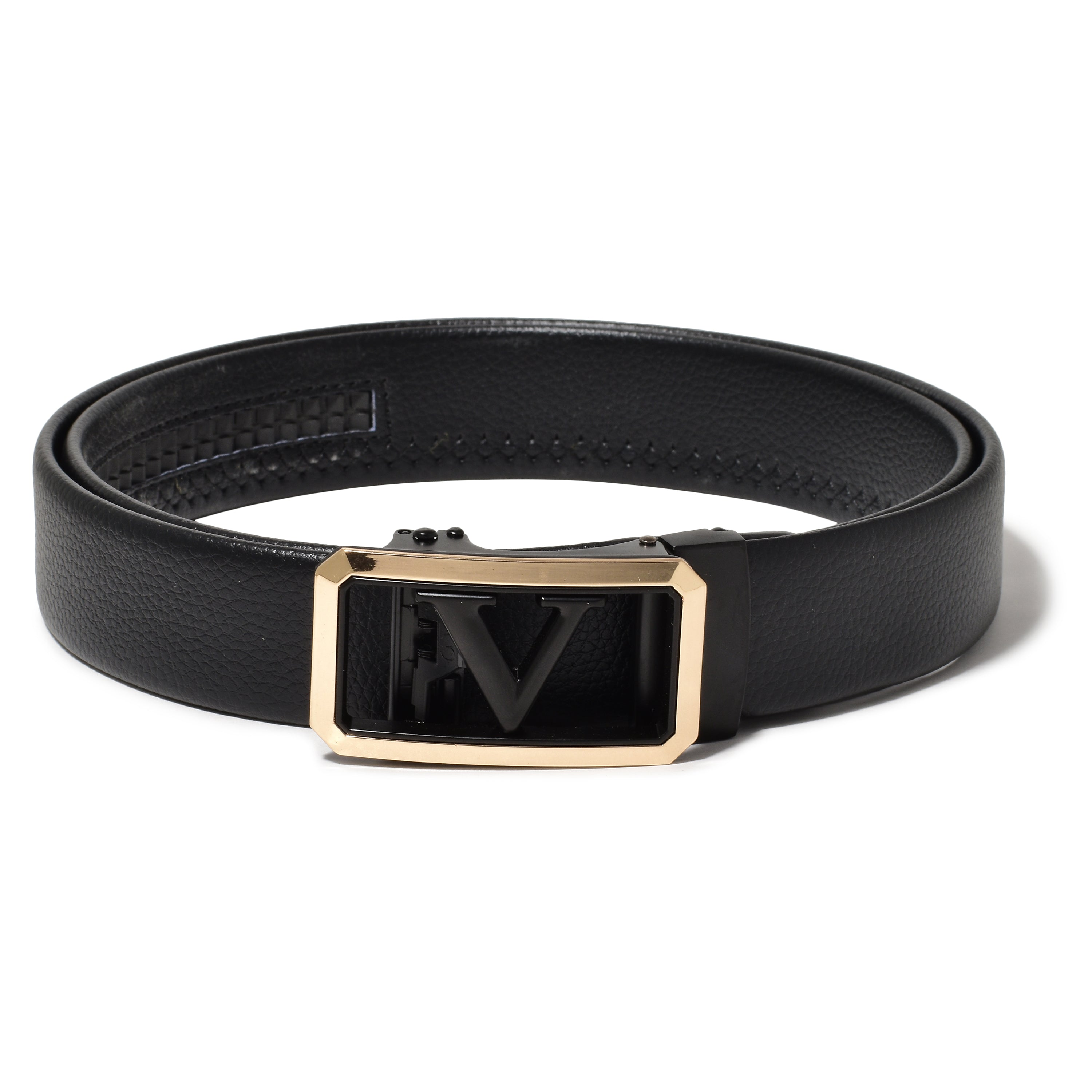 Ficuster Men Autogrip Metal Buckle Black Textured PU Leather Belt