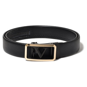 Ficuster Men Autogrip Metal Buckle Black Textured V Letter Vegan Leather Belt
