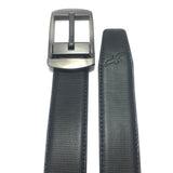 Ficuster Men Pinhole Metal Buckle Black Brown Reversible PU Leather Belt