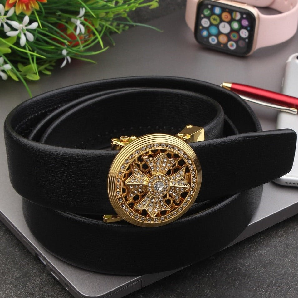 Ficuster Autolock Metal Buckle Black Stylish PU Leather Belt