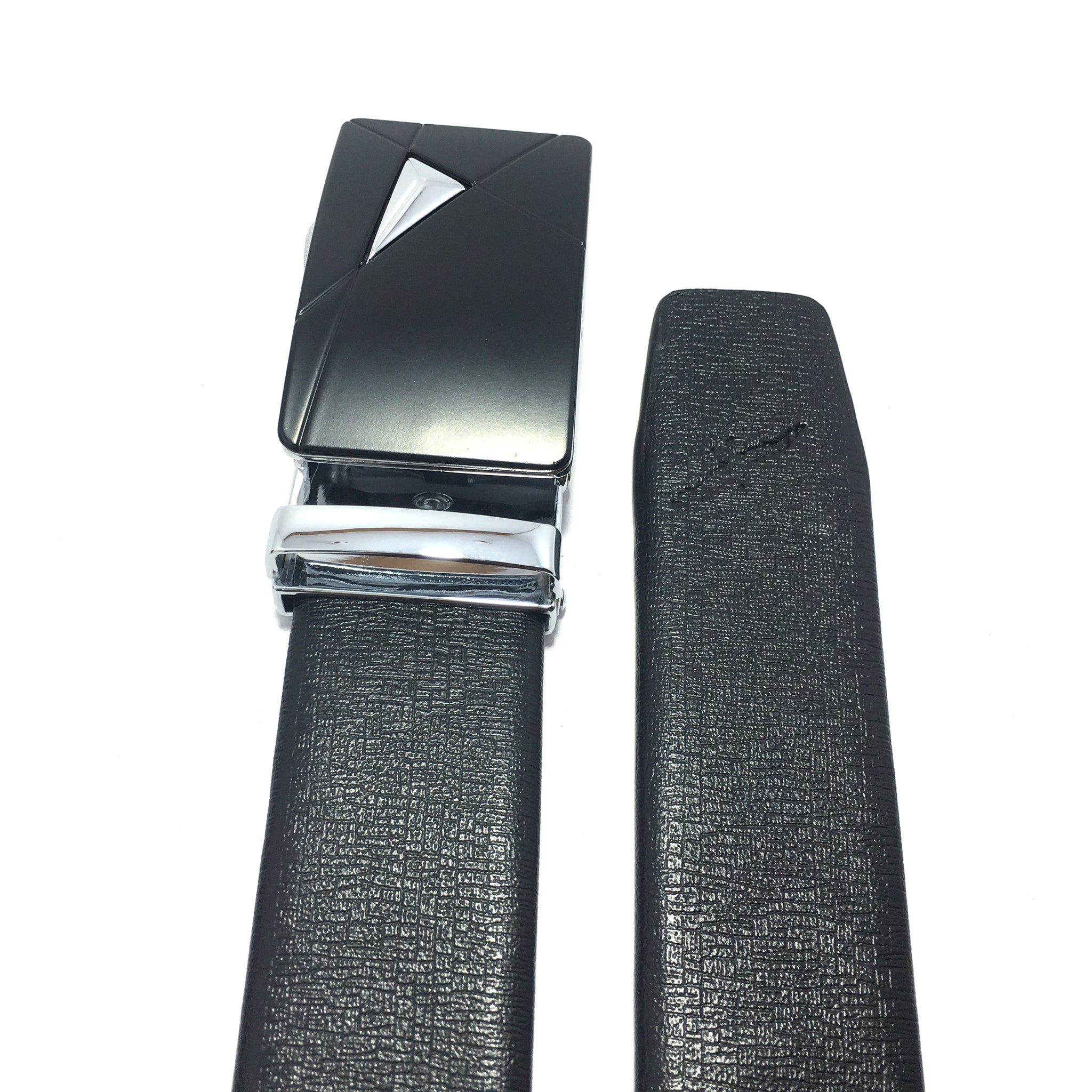 Ficuster Men Autolock Metal Buckle Black Stylish PU Leather Belt