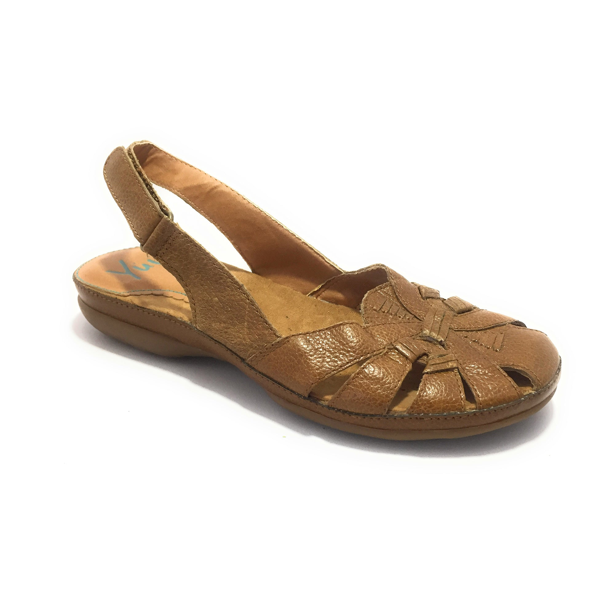 Ficuster Women Hook-Loop Closure Brown Flatform Sandals