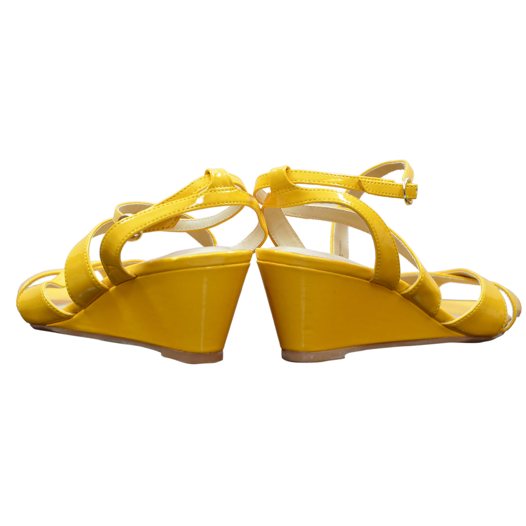 Ficuster Women Yellow Buckle Closure Wedges