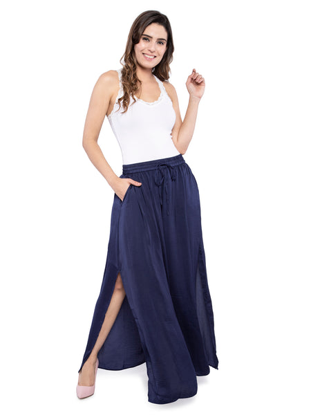 Ficuster Women Satin Fabric Blue Long Skirt