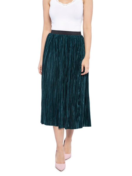 Ficuster Women Shimmer Fabric Green Printed Skirt