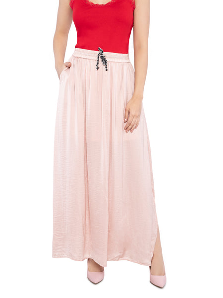 Ficuster Women Satin Fabric Peach Long Skirt