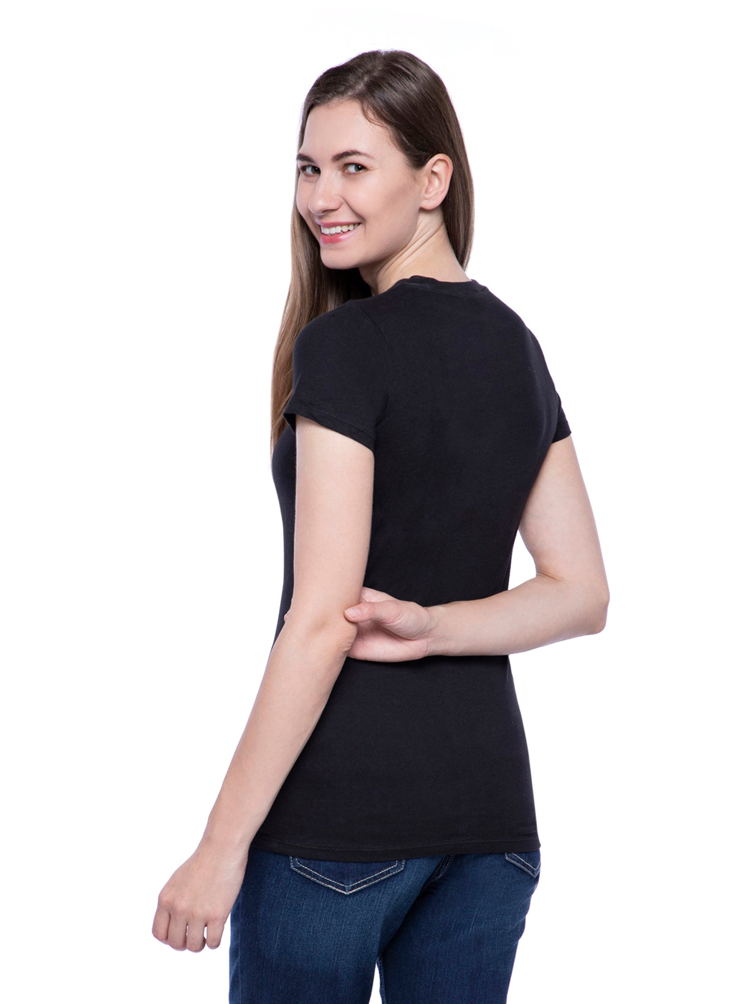 Ficuster Women Black Crew Neck T-Shirt