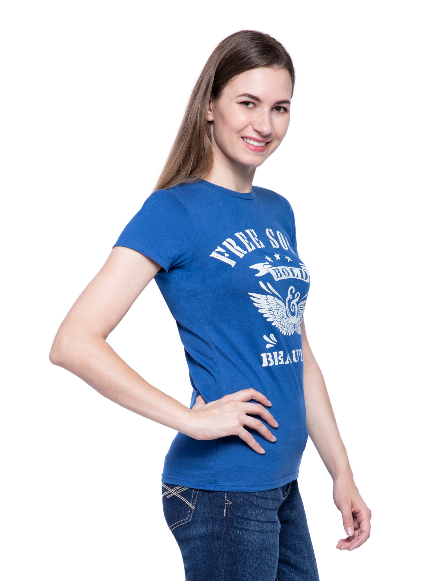 Ficuster Women Blue Printed Crew Neck T-Shirt