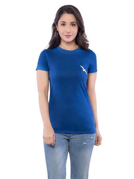 Ficuster Women Blue Solid Crew Neck T-Shirt
