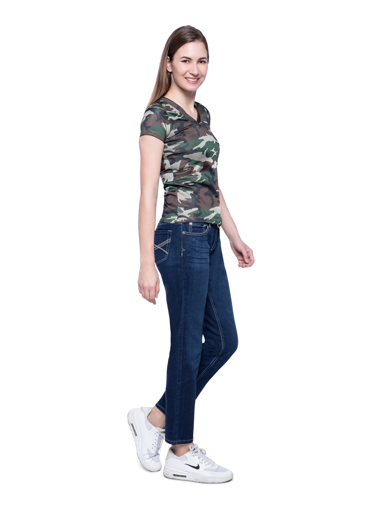 Ficuster Women V Neck Camouflage T-Shirt