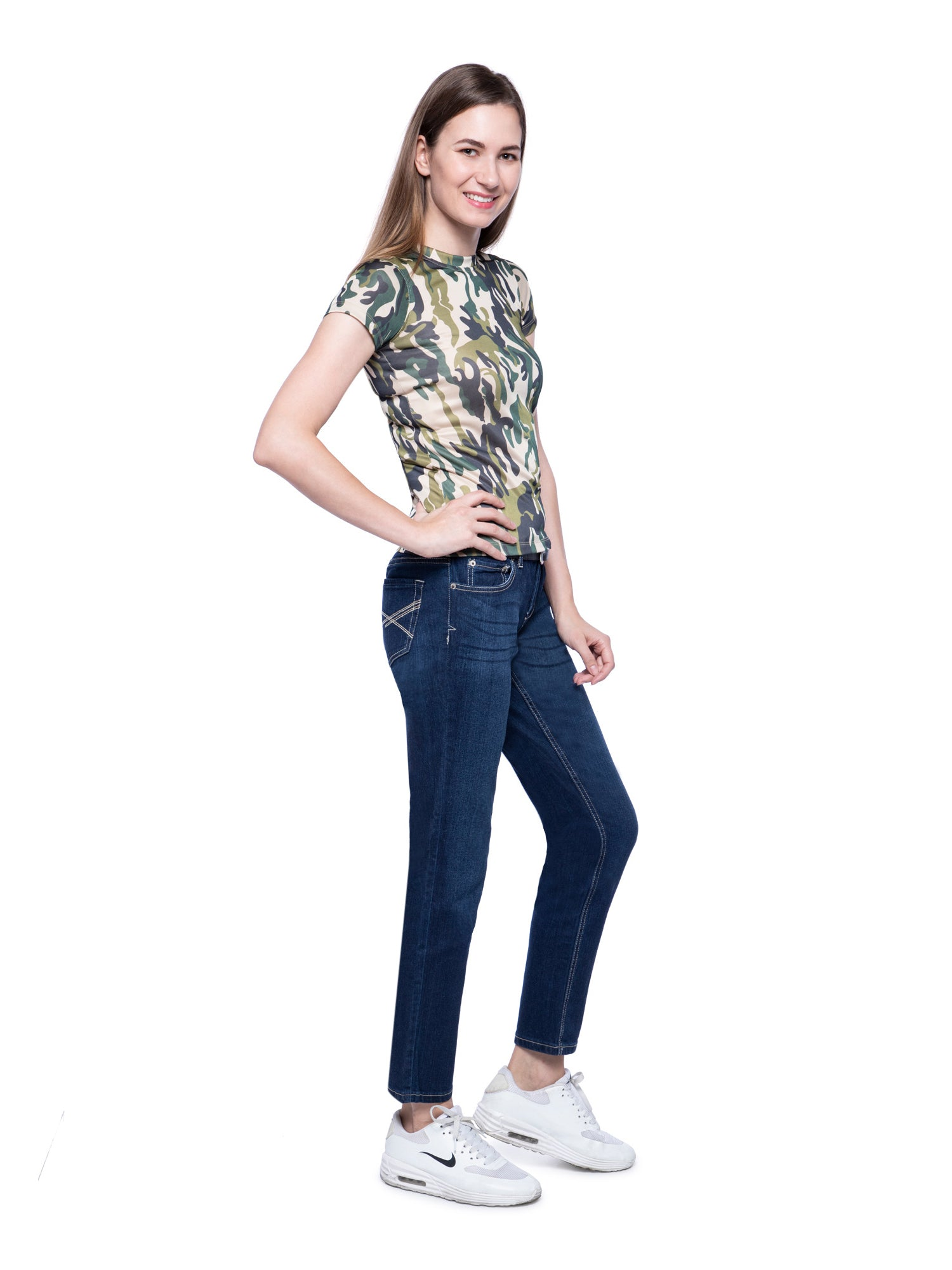 Ficuster Women Crew Neck Camouflage T-Shirt