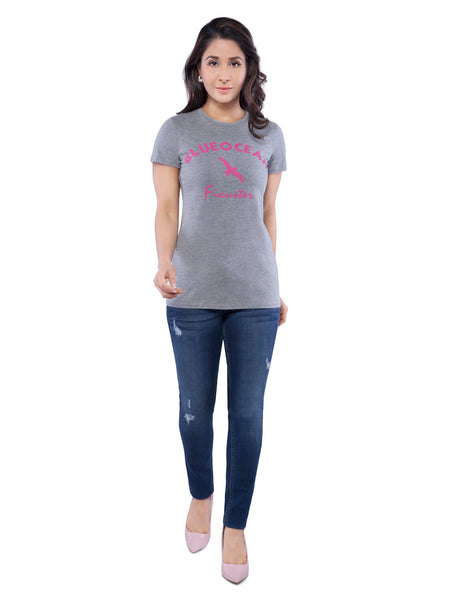 Ficuster Women Grey Crew Neck T-Shirt