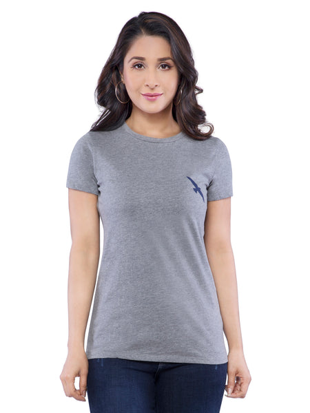 Ficuster Women Grey Solid Crew Neck T-Shirt