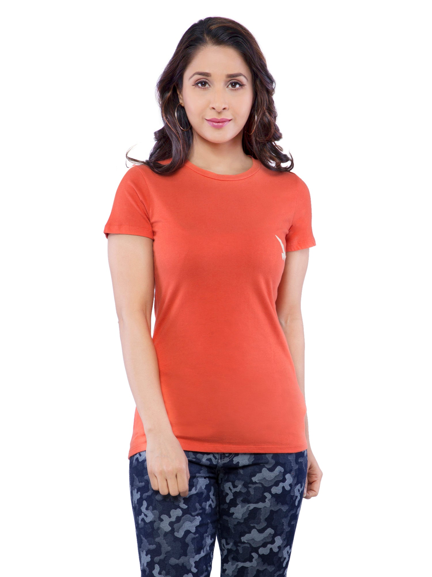 Ficuster Women Orange Crew Neck T-Shirt