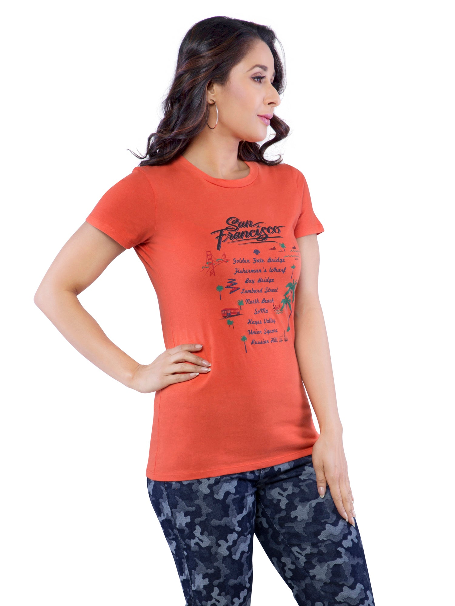 Ficuster Women Orange Printed T-Shirt