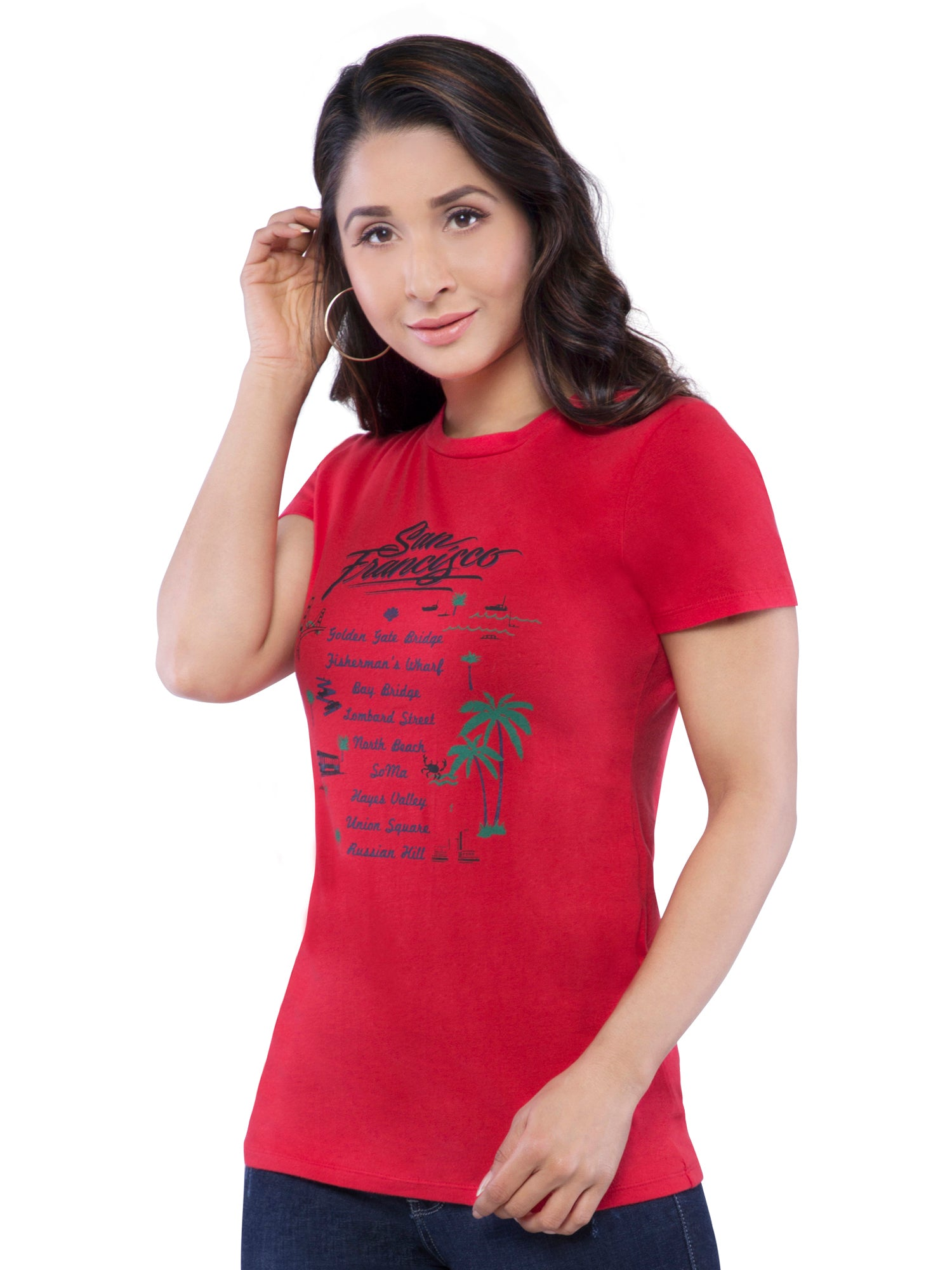 Ficuster Women Red Crew Printed Neck T-Shirt
