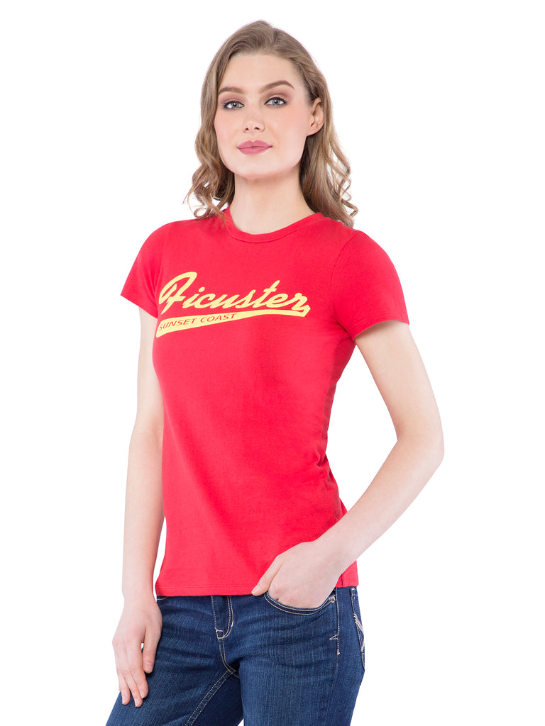 Ficuster Women Red Printed Crew Neck T-Shirt