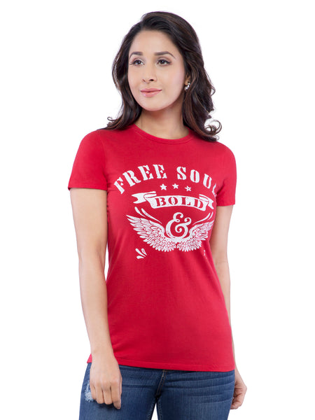 Ficuster Women Red Crew Neck T-Shirt