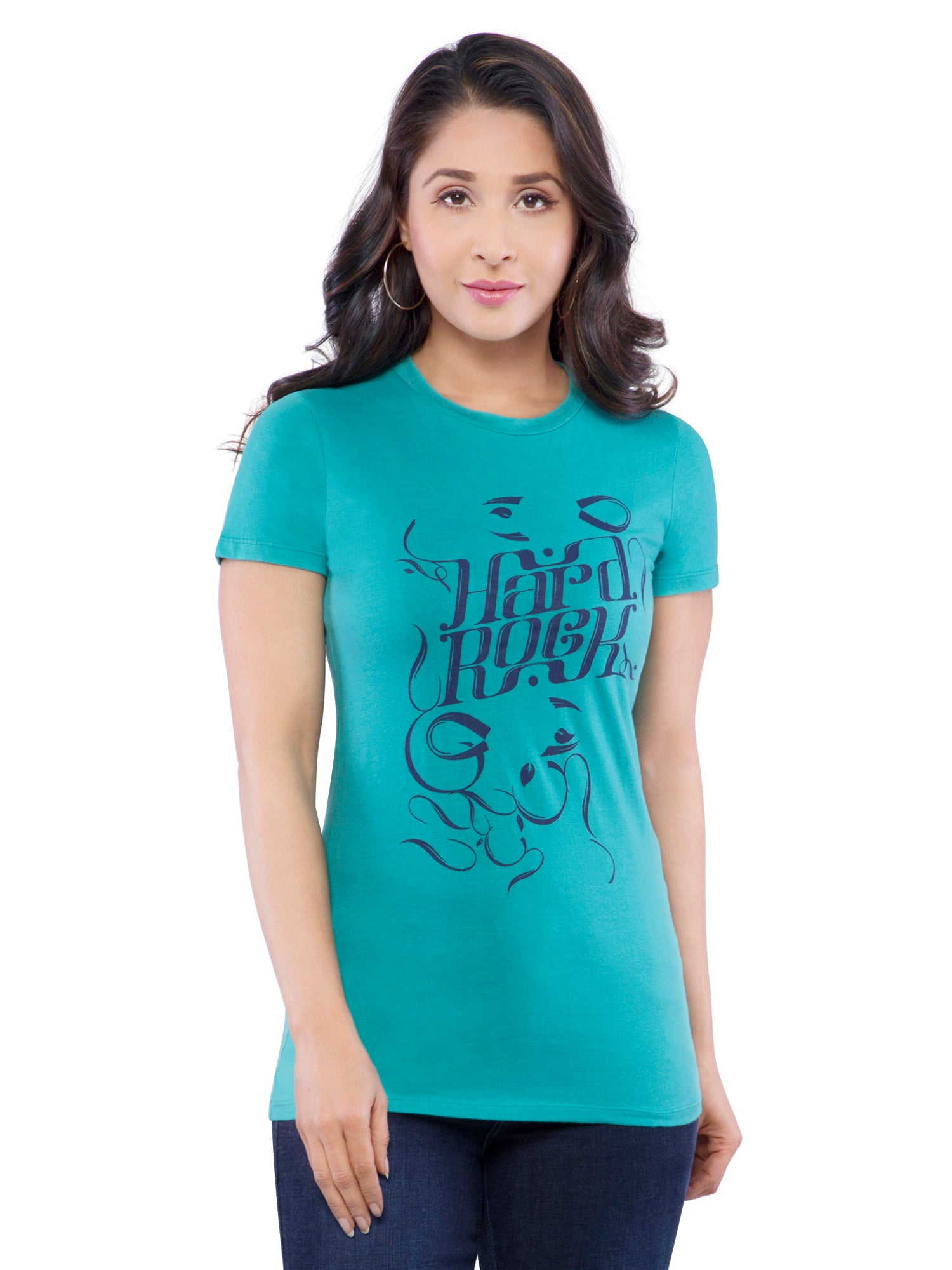 Ficuster Women Turquoise Printed T-Shirt