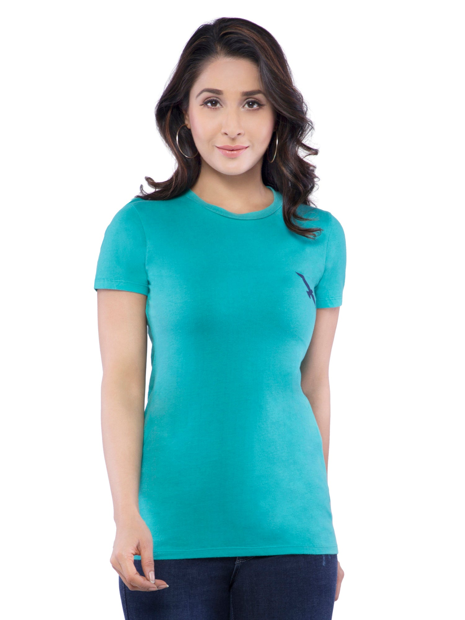 Ficuster Women Turquoise Crew Neck T-Shirt