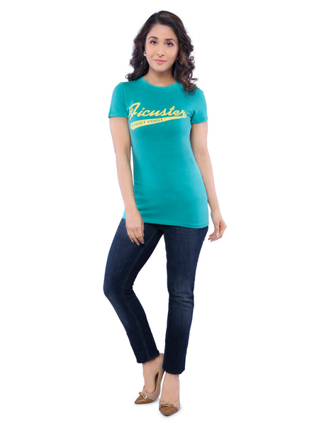 Ficuster Women Turquoise Printed Crew Neck T-Shirt
