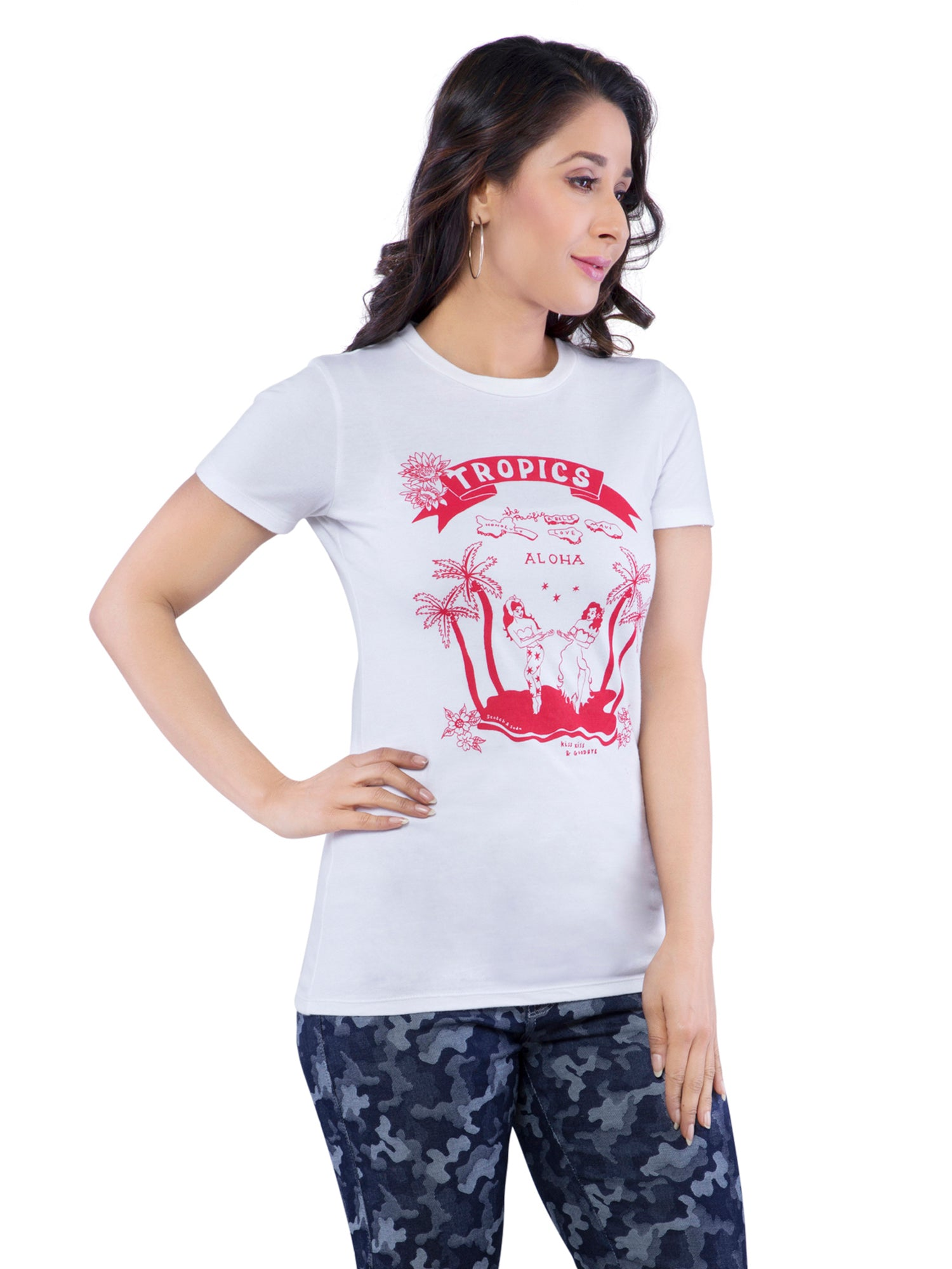 Ficuster Women White Crew Neck T-Shirt