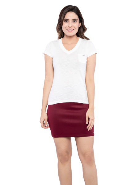 Ficuster Women White V Neck T-Shirt