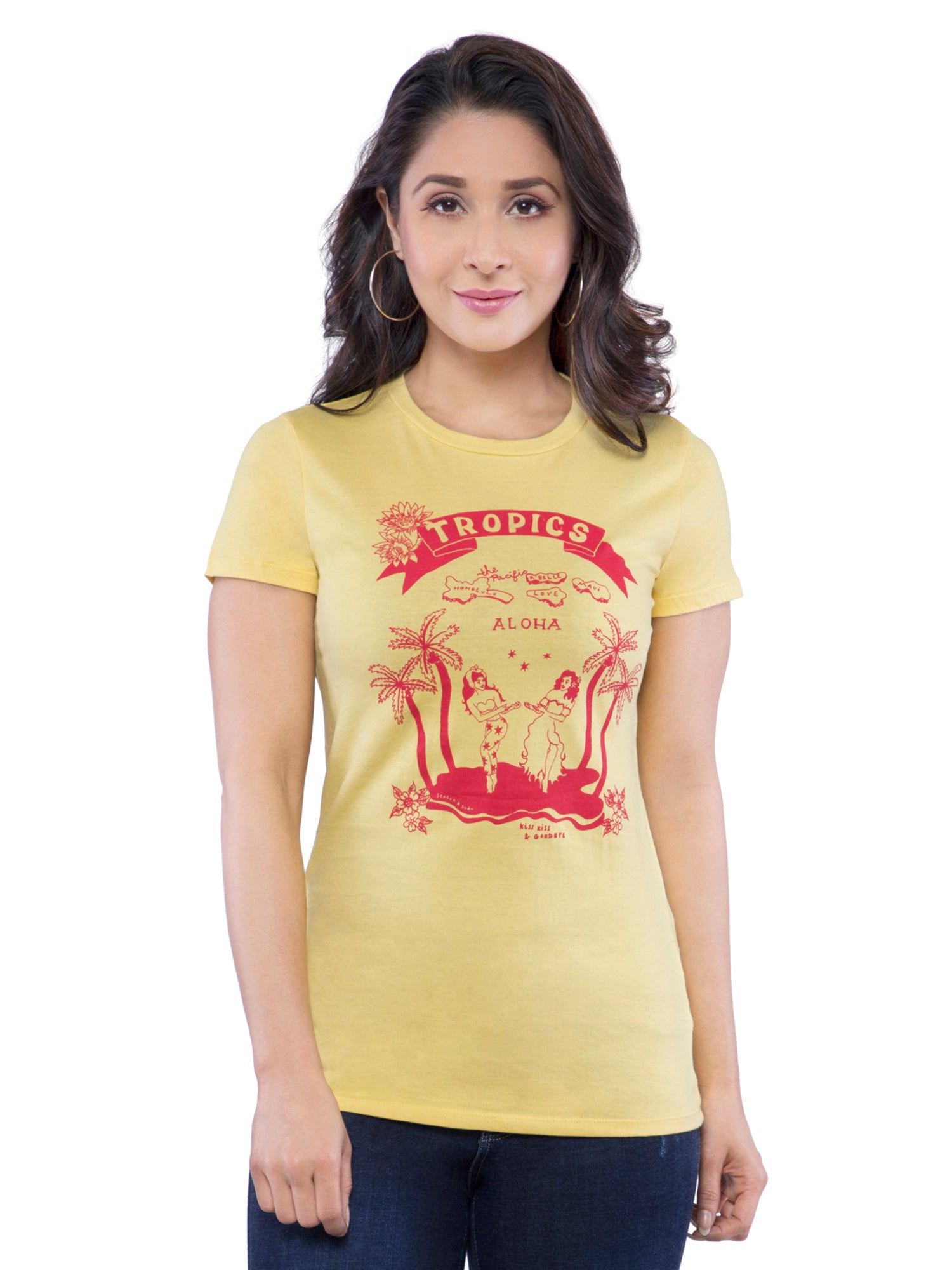 Ficuster Women Yellow Printed Crew Neck T-Shirt