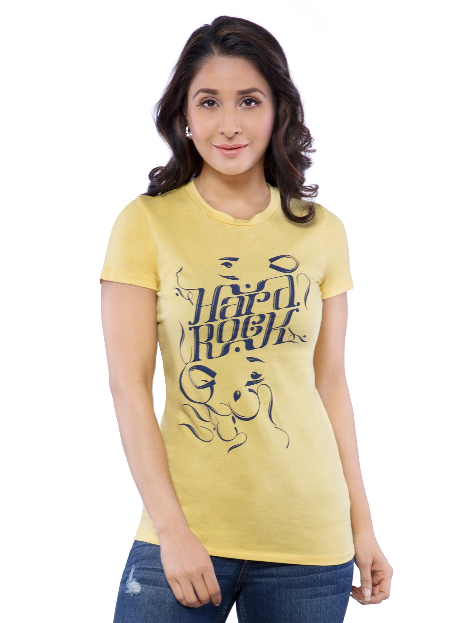 Ficuster Women Yellow Crew Neck T-Shirt