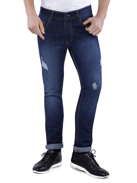 Ficuster Men Blue Distressed Slim Fit Jeans
