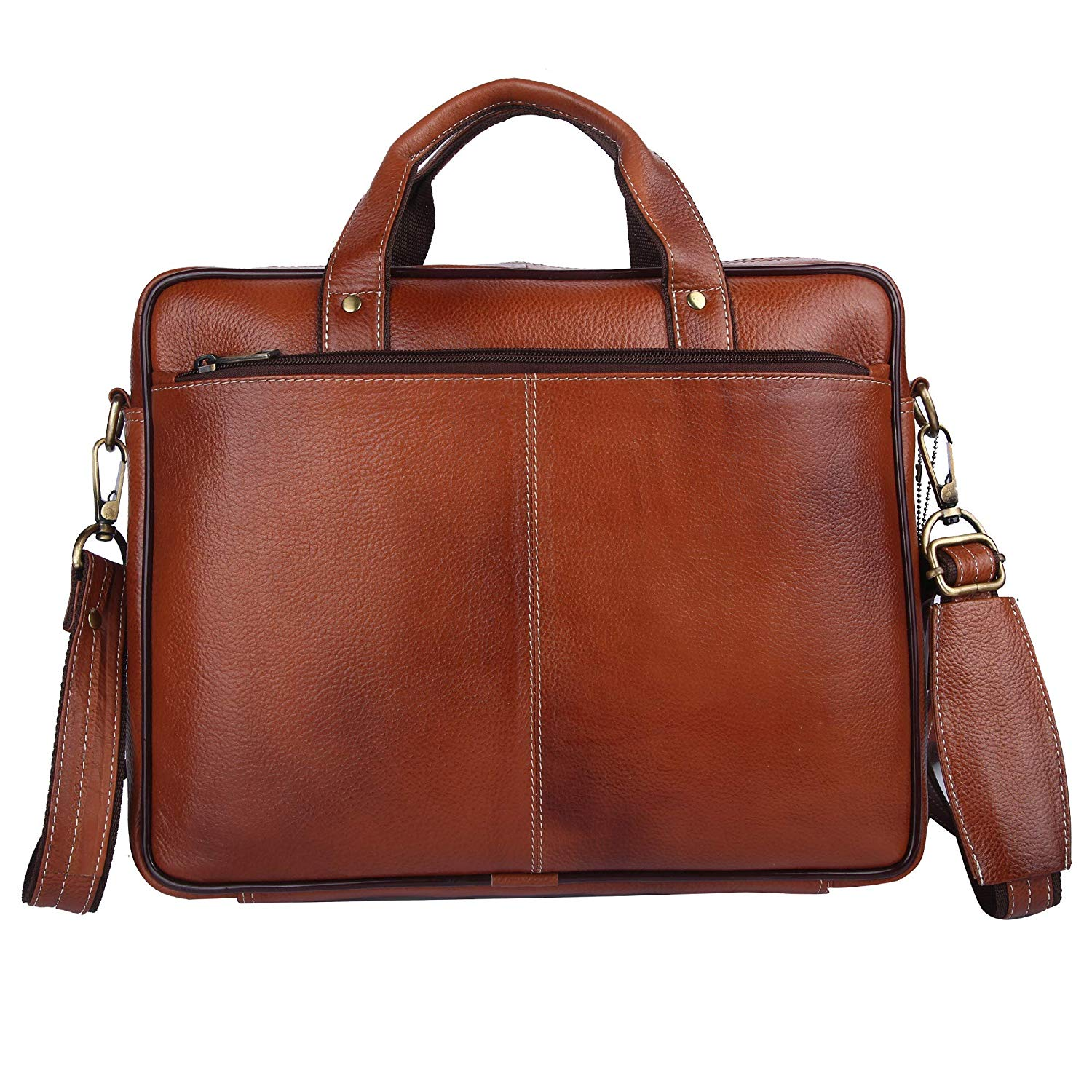 Ficuster Brown Genuine Leather Laptop Bag