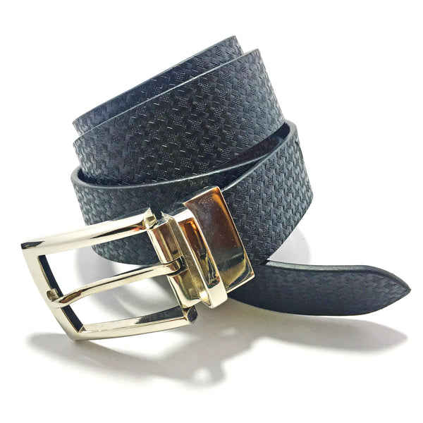 Ficuster Men Black Textured Reversible Leather Belt