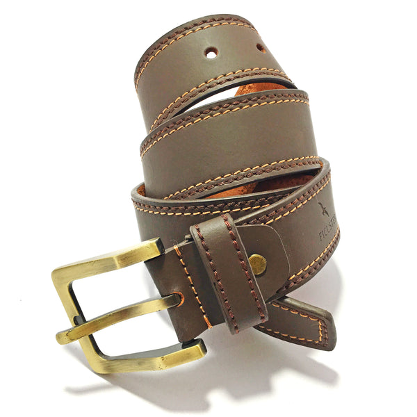 Ficuster Men Dark Brown Leather Belt