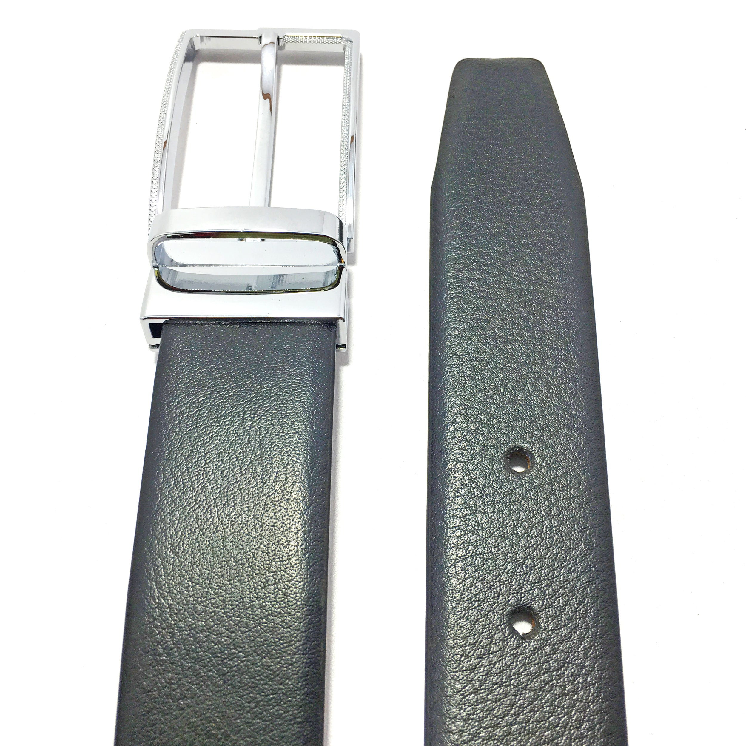 Ficuster Men Black Brown Reversible Leather Belt