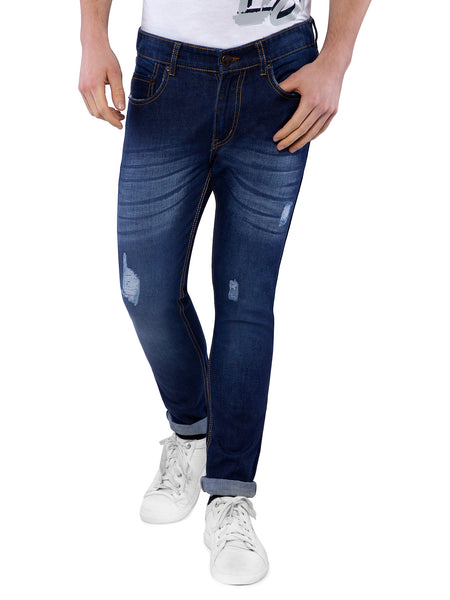 Ficuster Men Dark Blue Slim Fit Whisker Jeans