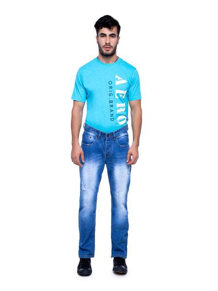 Ficuster Men Blue Slim Fit Whisker Jeans
