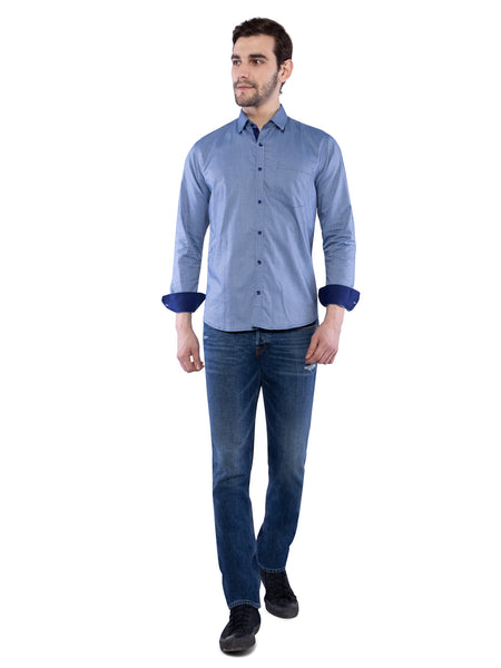 Ficuster Men Blue Polka Dots Shirt