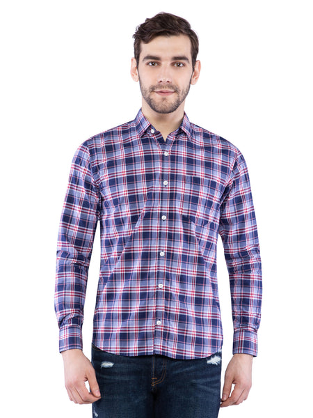 Ficuster Men Blue Checkered Shirt