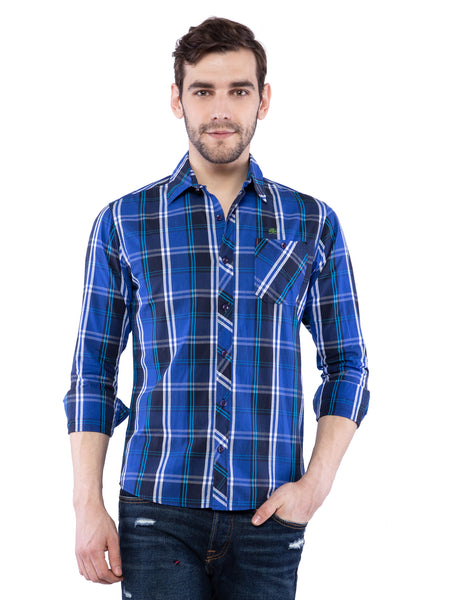 Ficuster Men Dark Blue Checked Shirt