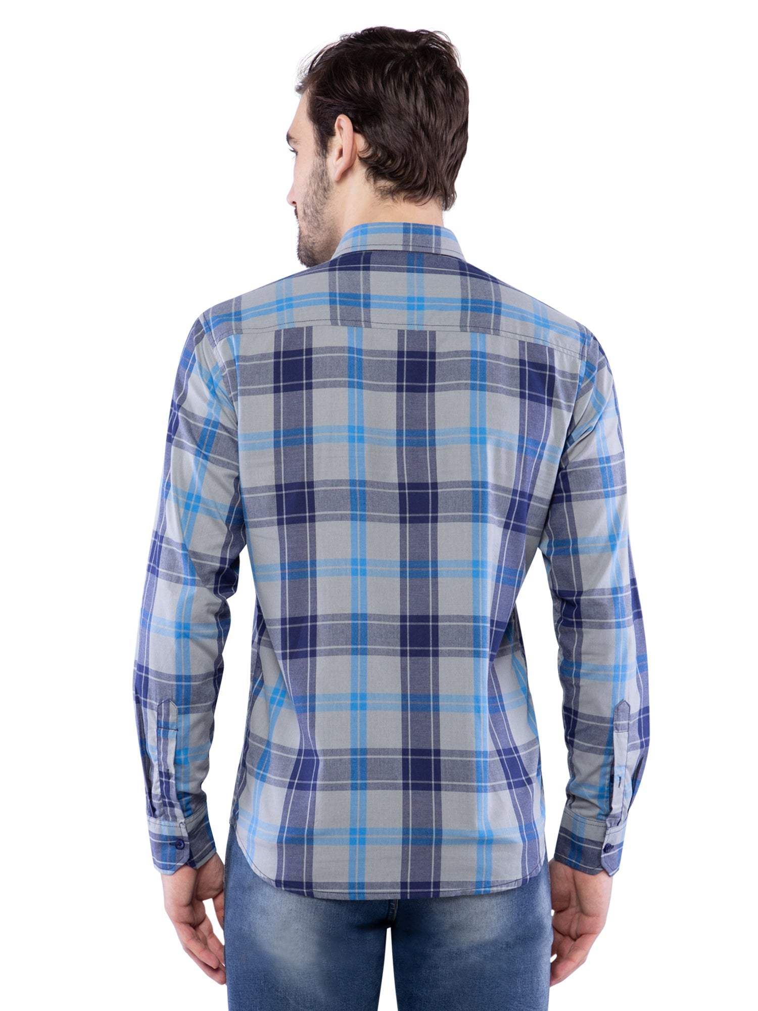 Ficuster Men Grey Checkered Shirt