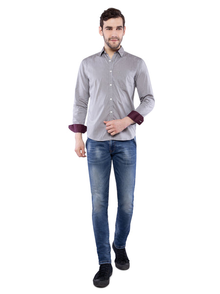 Ficuster Men Polka Dot Grey Shirt