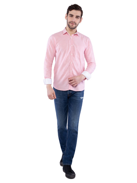 Ficuster Men Light Pink Solid Shirt