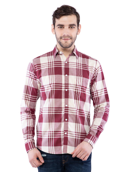 Ficuster Men Maroon Print White Shirt