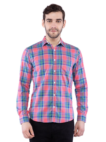 Ficuster Men Pink Blue Checkered Shirt