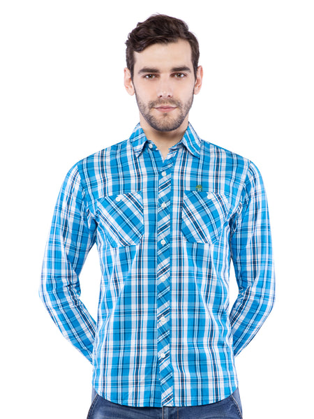Ficuster Men Sky Blue Checked Shirt