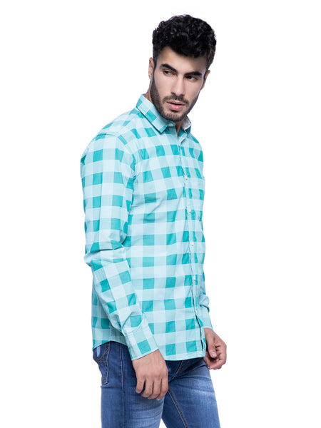 Ficuster Men Turquoise Checkered Shirt