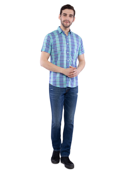 Ficuster Men Turquoise Half Sleeve Shirt